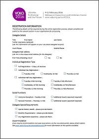 VALA2016 Institutional Registration Help Form