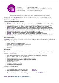 VALA2016 Registration Business Case