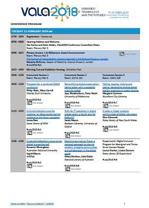 VALA2018 program grid